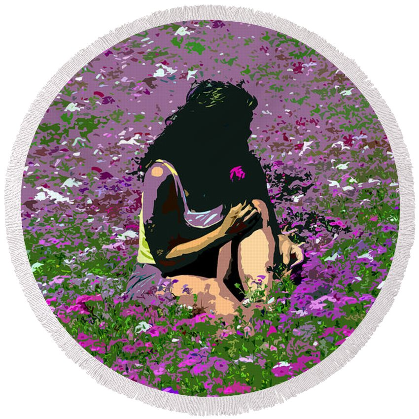 Flowers Round Beach Towel featuring the painting Flower Girl by David Lee Thompson