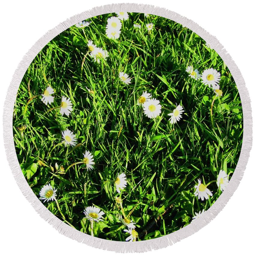 Flower Round Beach Towel featuring the photograph Flower Kissed Fields by Jenna Graham