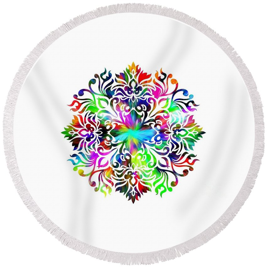 Colorful Round Beach Towel featuring the digital art Flower Mandala 4 by Camryn Zee Photography