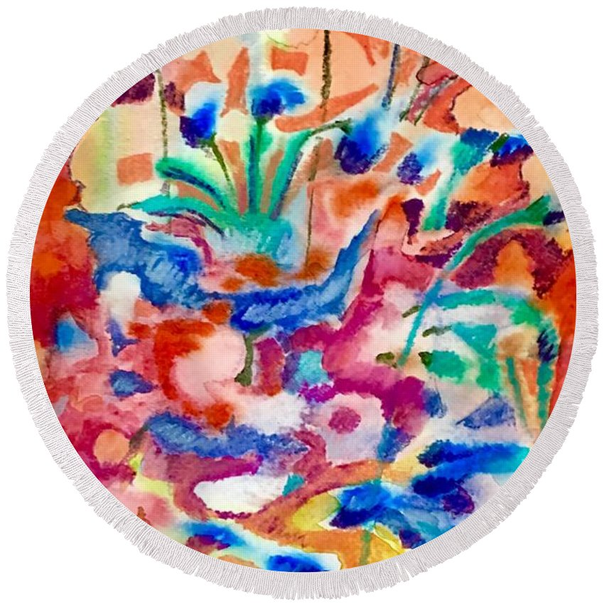 Abstract Floral Round Beach Towel featuring the painting Flower Market by Steevie Parks