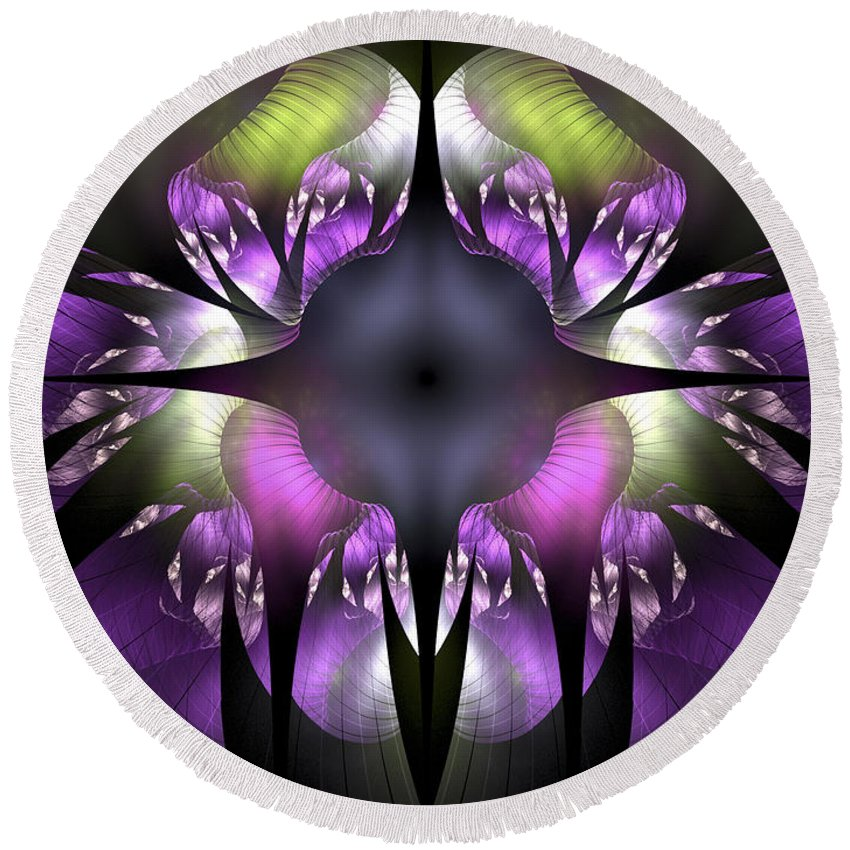 Fractal Round Beach Towel featuring the digital art Flower Of Hope by Amorina Ashton