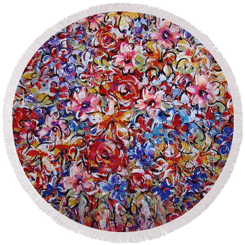 Flowers Round Beach Towel featuring the painting Flower Passion by Natalie Holland