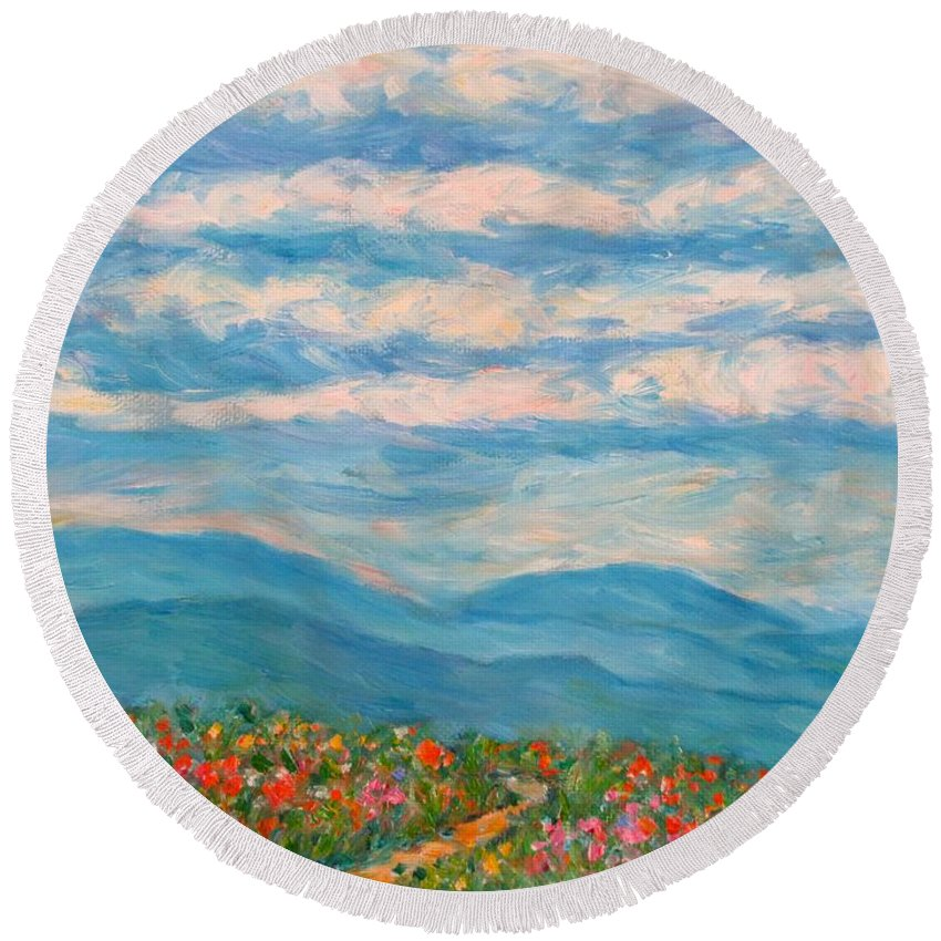 Blue Ridge Paintings Round Beach Towel featuring the painting Flower Path To The Blue Ridge by Kendall Kessler