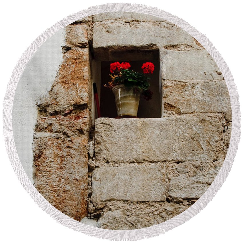 Flower Round Beach Towel featuring the photograph Flower Pot In Niche by Thomas Marchessault