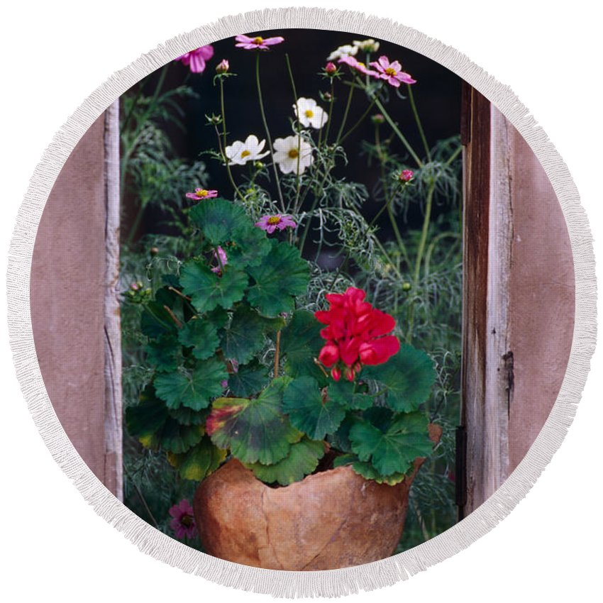 Flower Round Beach Towel featuring the photograph Flower Pot In Window by Bob Neiman