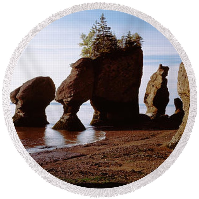 Photography Round Beach Towel featuring the photograph Flower Pot Rocks On The Beach, Hopewell by Panoramic Images