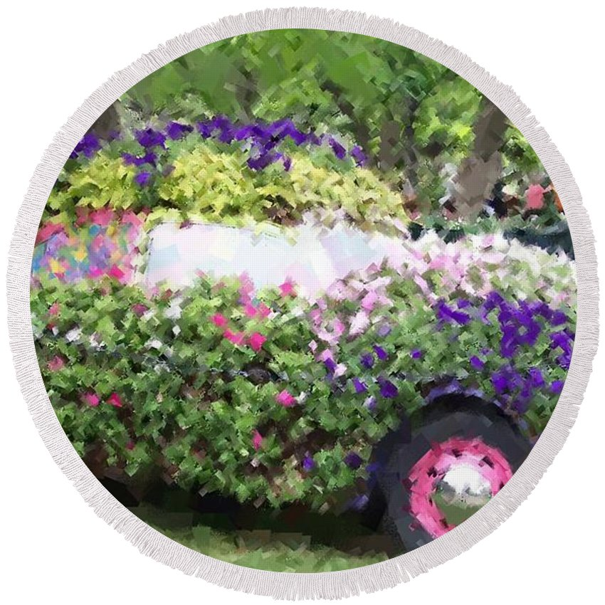 Cars Round Beach Towel featuring the photograph Flower Power by Debbi Granruth