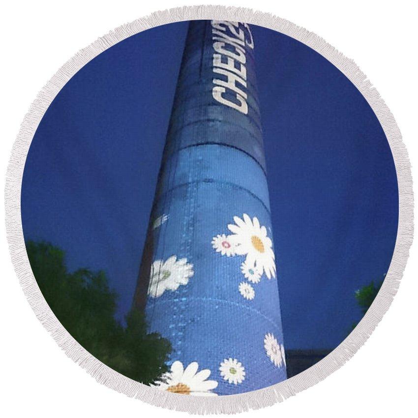 Flower Power Tower Round Beach Towel featuring the photograph Flower Power Tower by Heidi Sieber