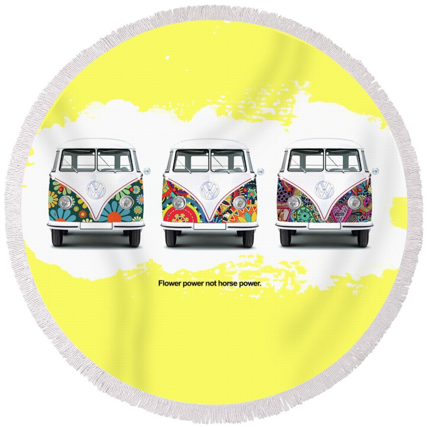 Vw Round Beach Towel featuring the photograph Flower Power Vw by Mark Rogan