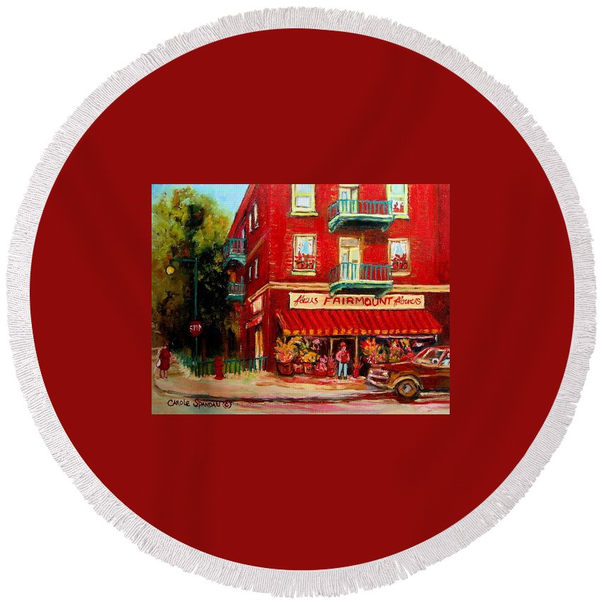 Fairmount Street Round Beach Towel featuring the painting Flower Shop On The Corner by Carole Spandau