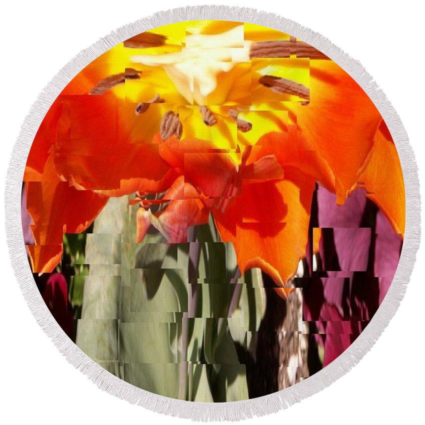 Flower Round Beach Towel featuring the photograph Flower by Tim Allen