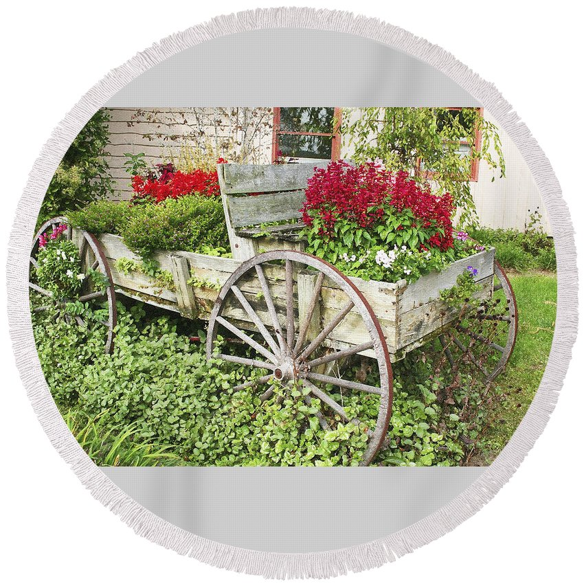 Wagon Round Beach Towel featuring the photograph Flower Wagon by Margie Wildblood