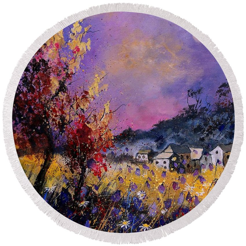 Round Beach Towel featuring the painting Flowered Landscape 569070 by Pol Ledent