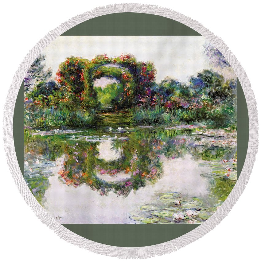 Claude Monet Round Beach Towel featuring the painting Flowering Arches, Giverny by Claude Monet