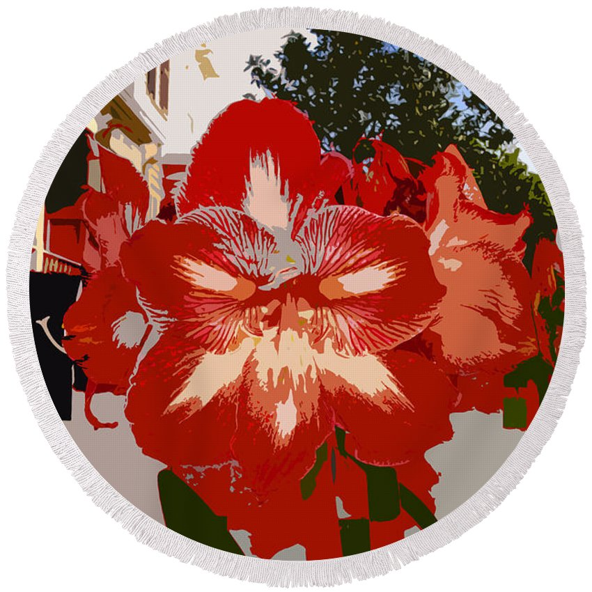 Flower Round Beach Towel featuring the photograph Flowering Backyard Work Number 33 by David Lee Thompson