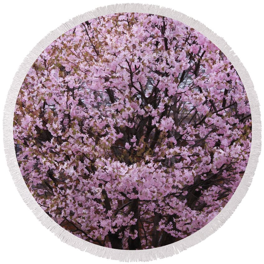 Tree Round Beach Towel featuring the photograph Flowering Pink In Spring by Deborah Benoit