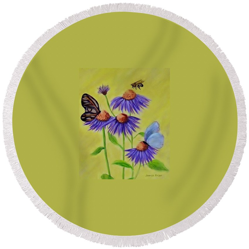 Butterfly Round Beach Towel featuring the painting Flowers And Butterflies by Jamie Frier