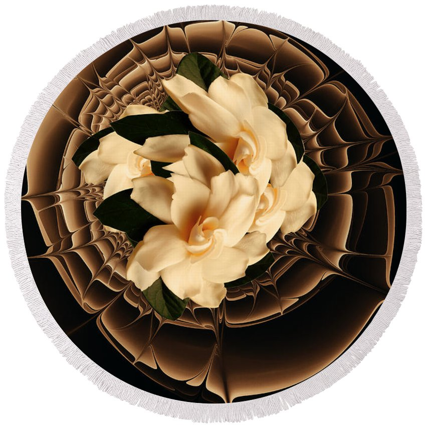 Flower Round Beach Towel featuring the mixed media Flowers And Chocolate by Georgiana Romanovna