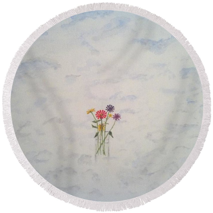 Clouds Round Beach Towel featuring the painting Flowers And Clouds by Laura Kaye