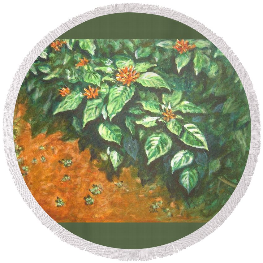 Orange Round Beach Towel featuring the painting Flowers And Earth by Usha Shantharam