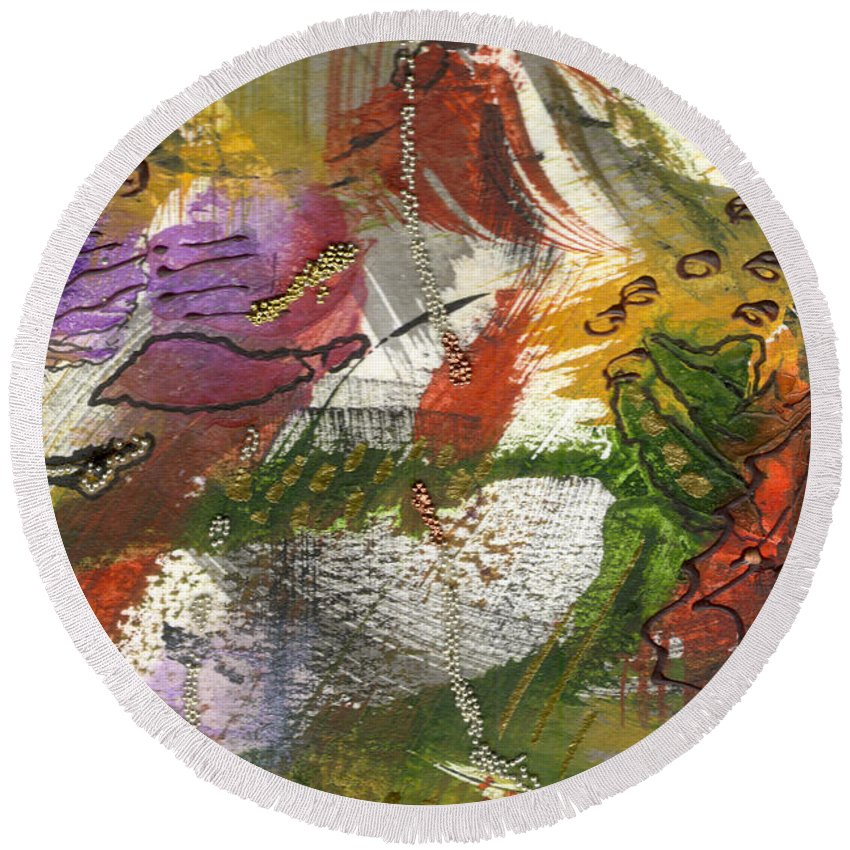 Purple Round Beach Towel featuring the mixed media Flowers And Leaves IIi by Angela L Walker
