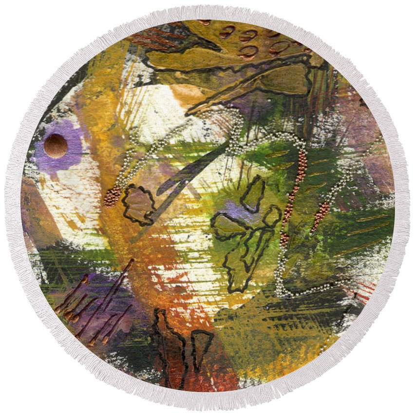 Purple Round Beach Towel featuring the mixed media Flowers And Leaves Iv by Angela L Walker