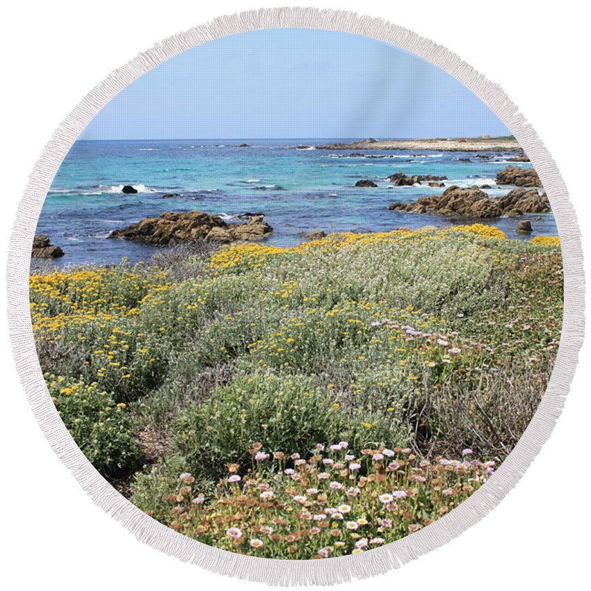 Round Beach Towel featuring the photograph Flowers And Surf by Carol Groenen