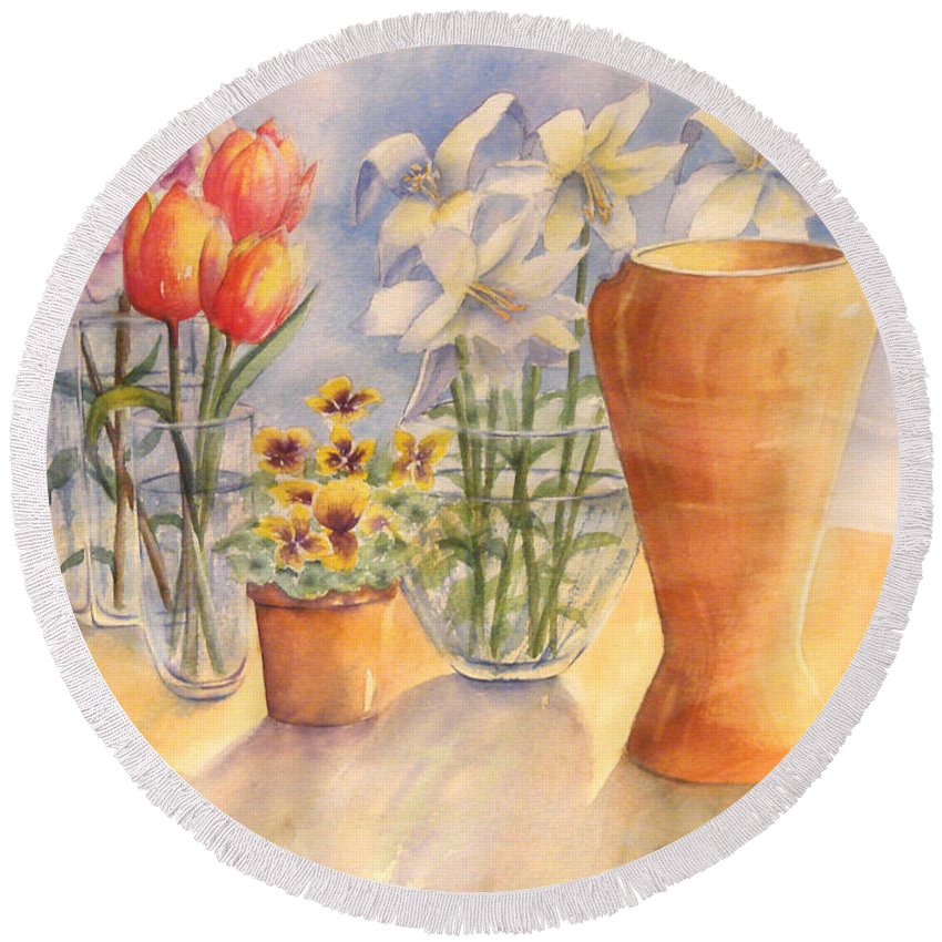 Watercolor Round Beach Towel featuring the painting Flowers And Terra Cotta by Debbie Lewis