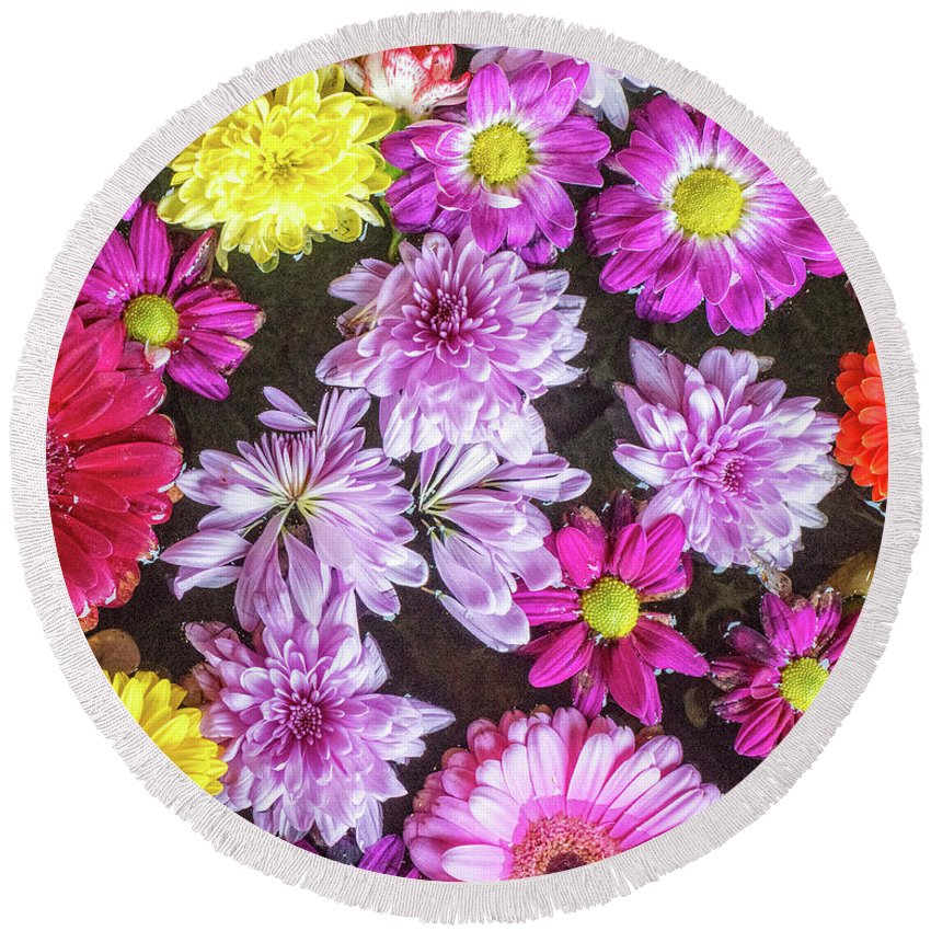 # Art Decor Round Beach Towel featuring the photograph Flowers by Anka Wong