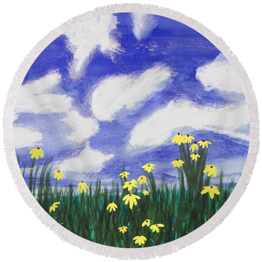 Acrylic Round Beach Towel featuring the painting Flowers Bright Field by Lee Serenethos