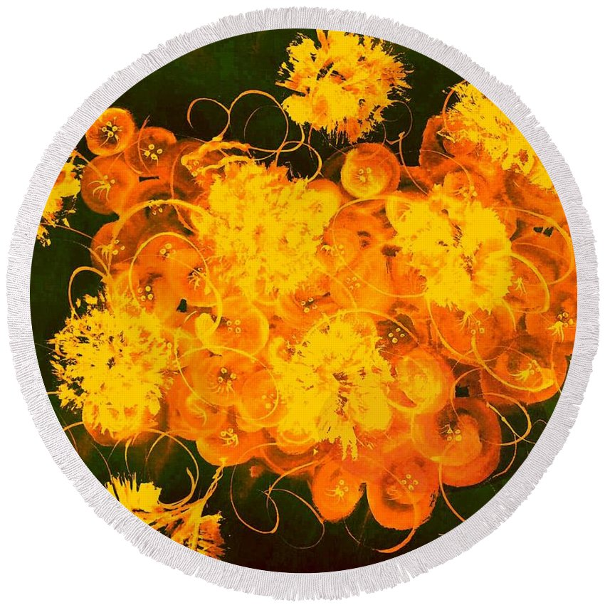Abstract Round Beach Towel featuring the digital art Flowers, Buttons And Ribbons -shades Of Orange/yellow by Carlene Harris