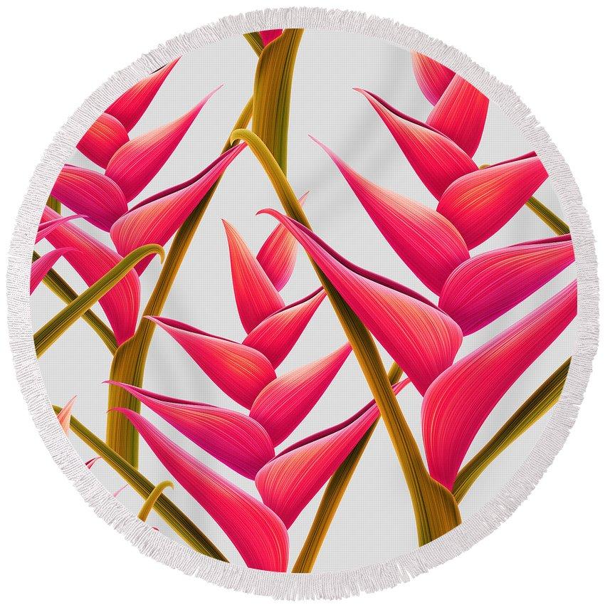 Summer Round Beach Towel featuring the digital art Flowers Fantasia  by Mark Ashkenazi