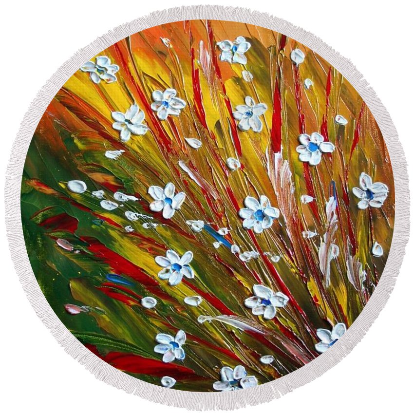 Flowers Round Beach Towel featuring the painting Flowers Field by Luiza Vizoli