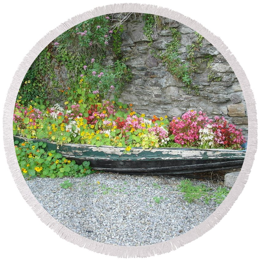 Inistioge Round Beach Towel featuring the photograph Flowers Floating by Kelly Mezzapelle