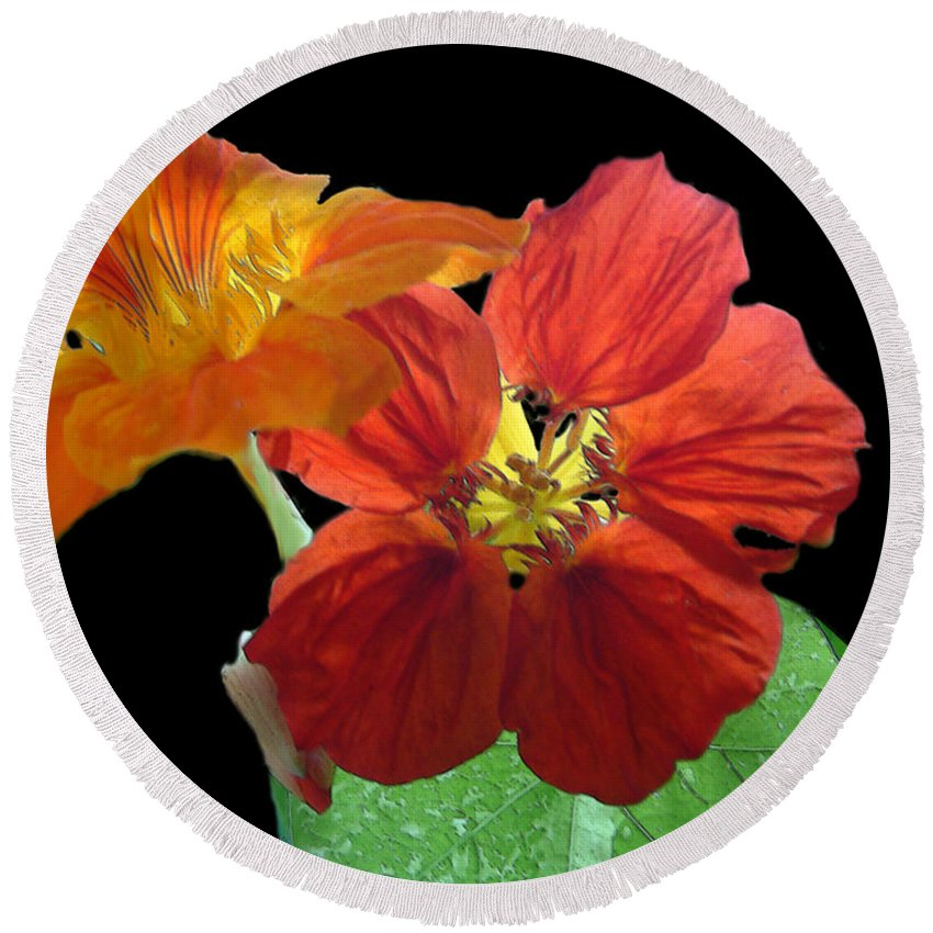 Nasturtiums Round Beach Towel featuring the painting Flowers For Ebie by RC deWinter