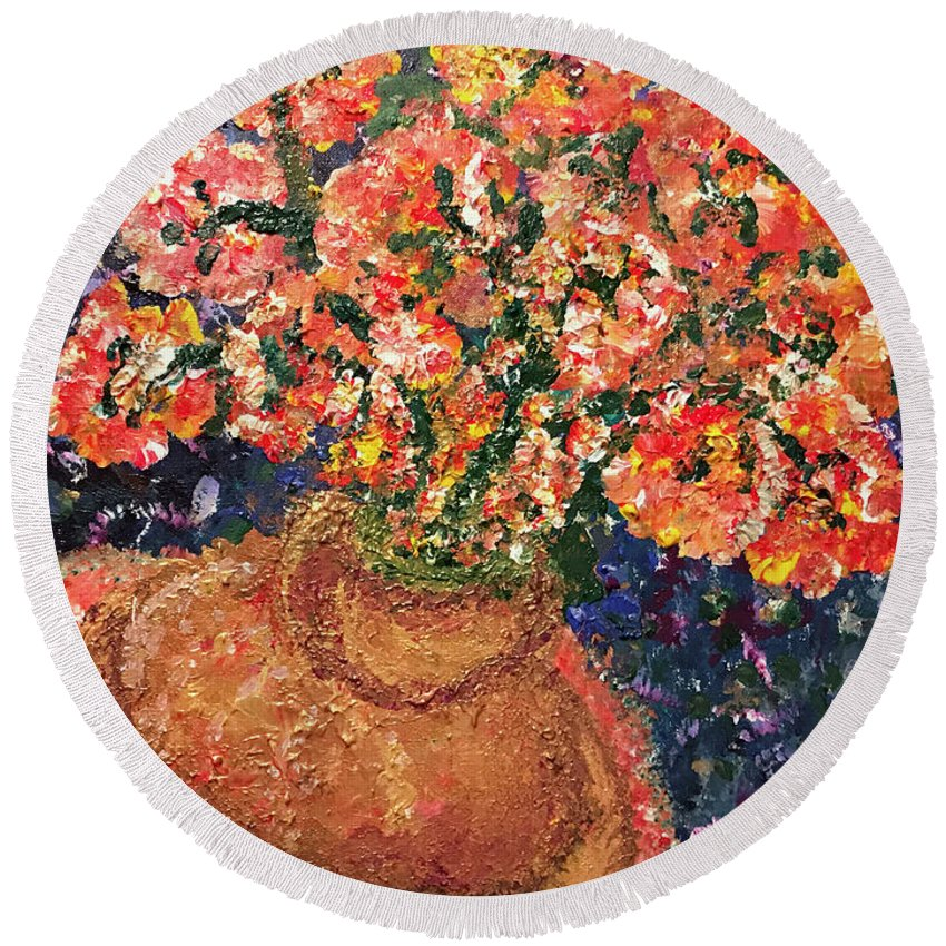 Painting Round Beach Towel featuring the painting Flowers For Mary by Annette Hadley