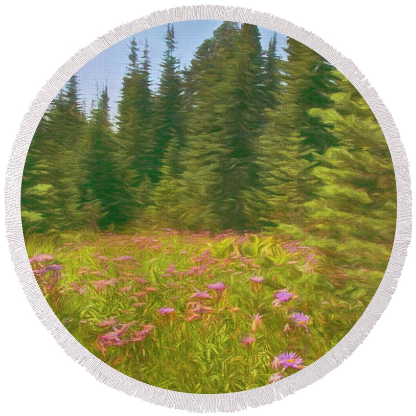Glade Round Beach Towel featuring the photograph Flowers In A Mountain Glade by Mitch Spence