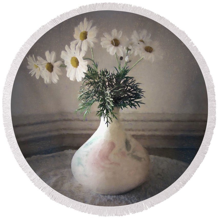 Flowers Round Beach Towel featuring the photograph Flowers In A Pot by Albert Sellaman
