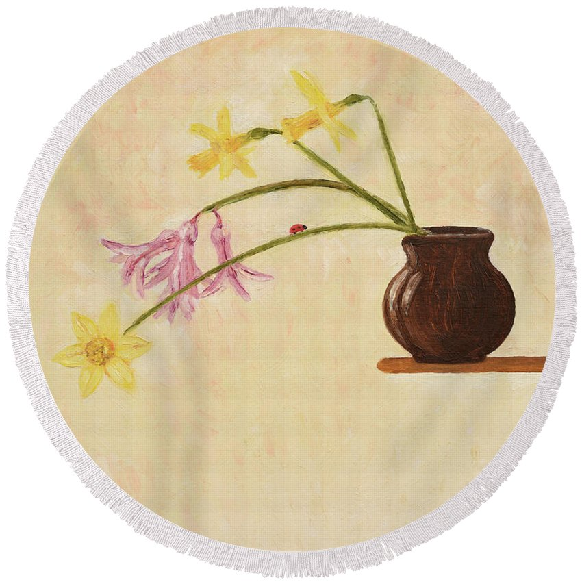 Flowers Round Beach Towel featuring the painting Flowers In Vase by Oleg Konin