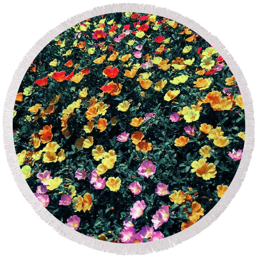 Flower Round Beach Towel featuring the photograph Flowers by Jeremiah B