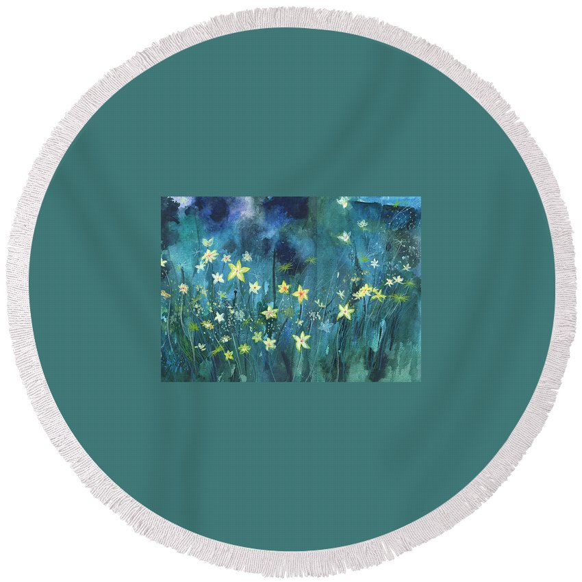 Landscape Round Beach Towel featuring the painting Flowers N Breeze by Anil Nene