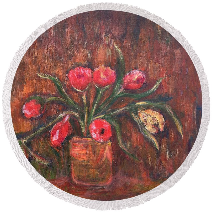 Katt Yanda Original Art Floral Oil Painting Pink Flowers Vase Wilting Round Beach Towel featuring the painting Flowers Of Pink In Vase by Katt Yanda