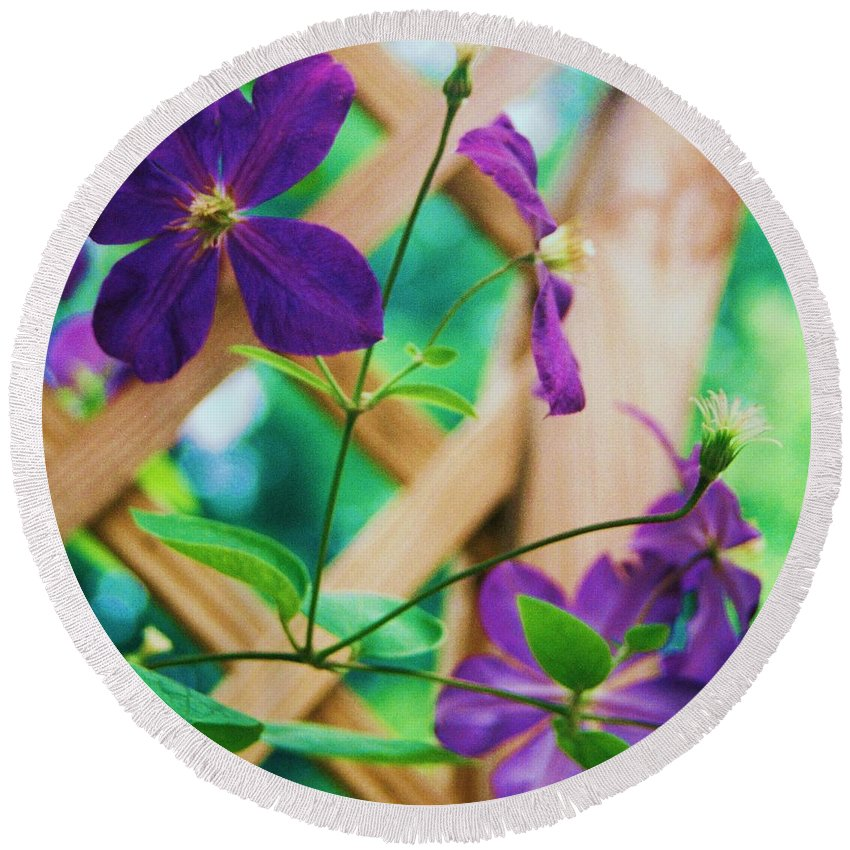 Floral Round Beach Towel featuring the painting Flowers Purple by Eric Schiabor
