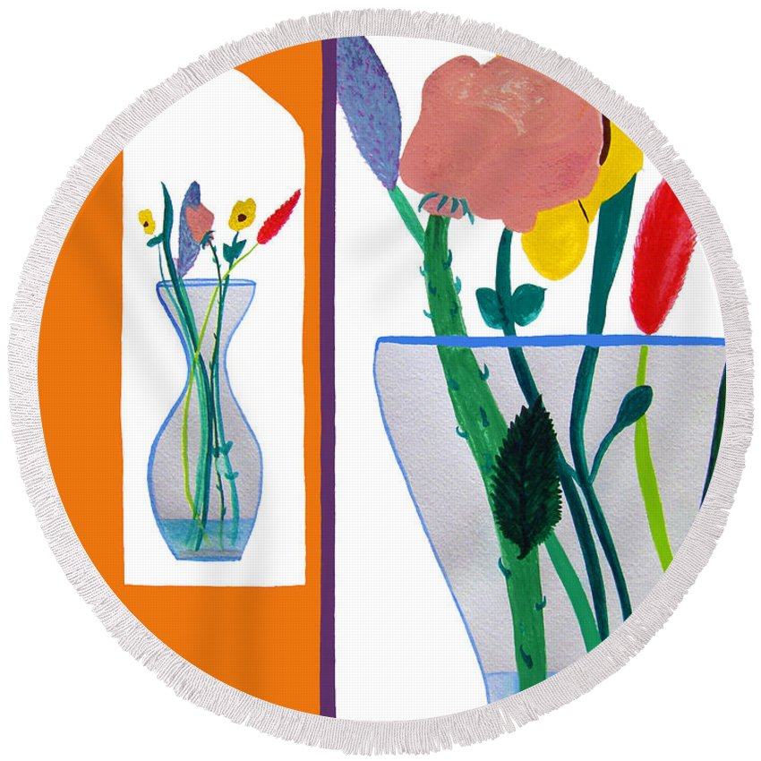 Art Round Beach Towel featuring the painting Flowers Small And Big by Lee Serenethos