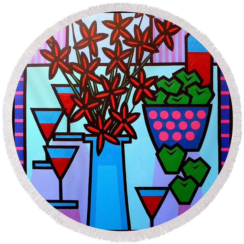 Flowers Round Beach Towel featuring the painting Flowers Wine Apples by John Nolan