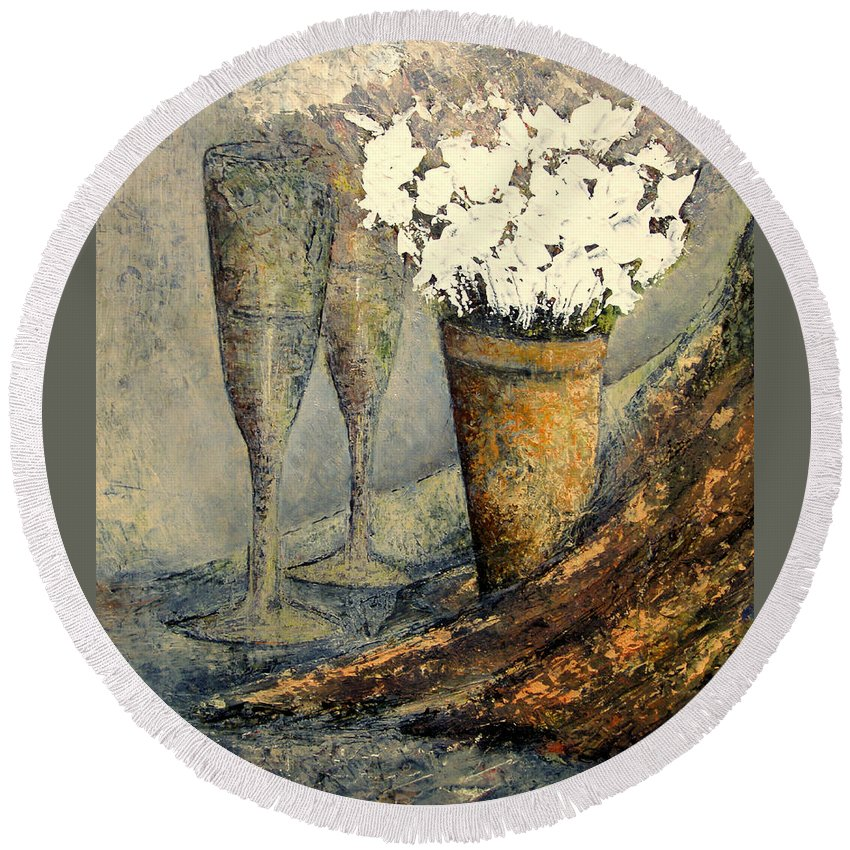 Flowers Round Beach Towel featuring the painting Flowers And Champagne by Tomas Castano