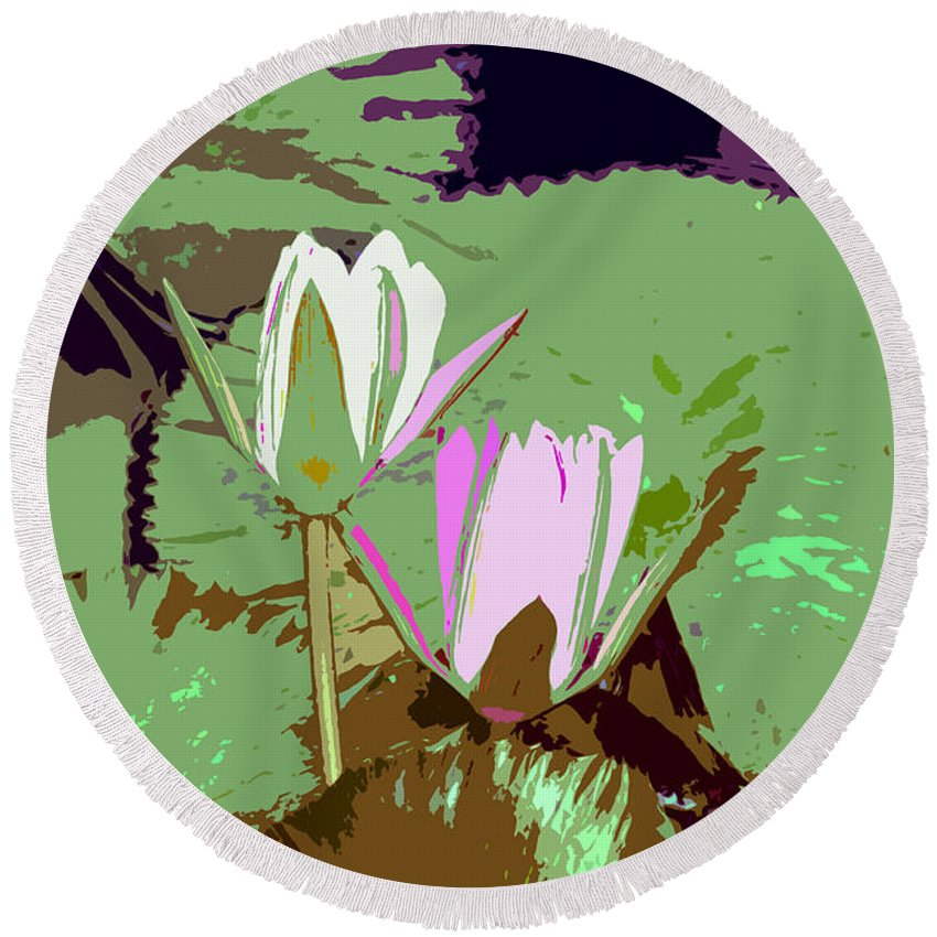 Flowers Round Beach Towel featuring the photograph Flowers Work Number 3 by David Lee Thompson