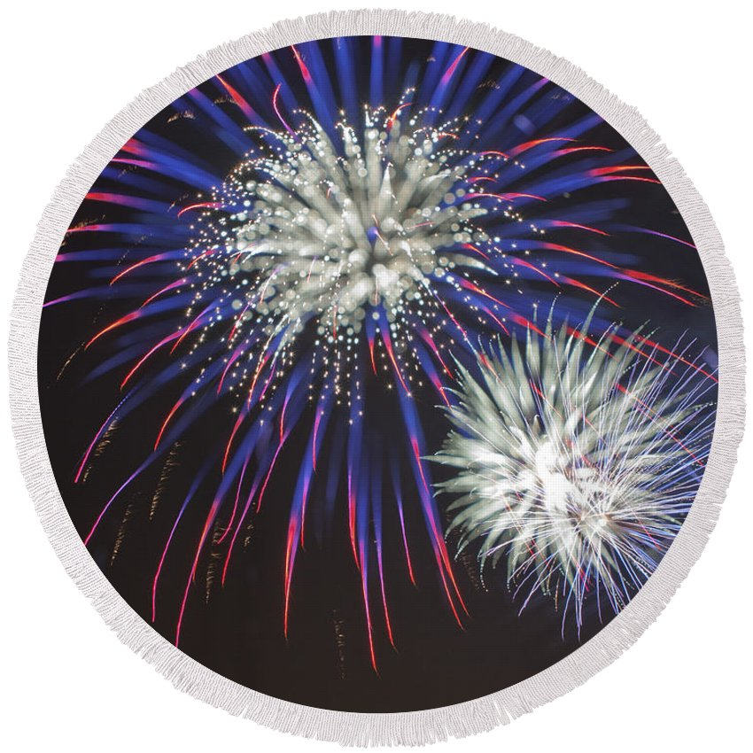 Fireworks Round Beach Towel featuring the photograph Flowerworks #4 by Sandy Swanson