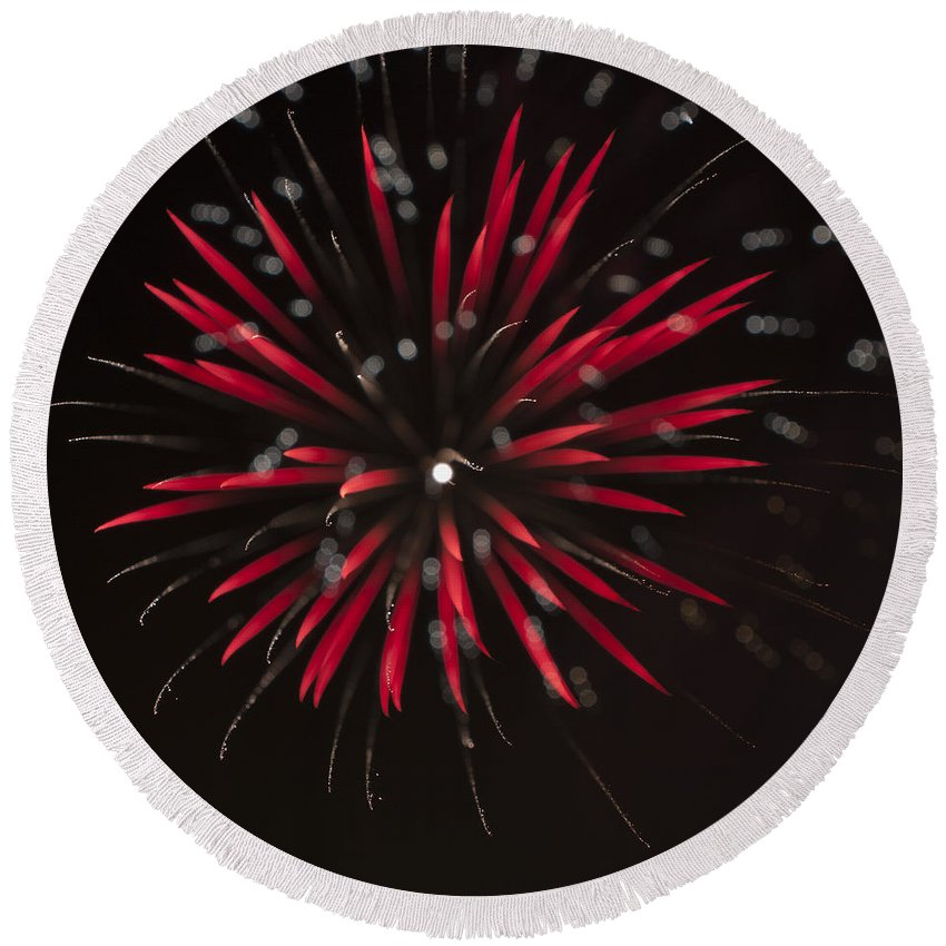 Fireworks Round Beach Towel featuring the photograph Flowerworks #7 by Sandy Swanson