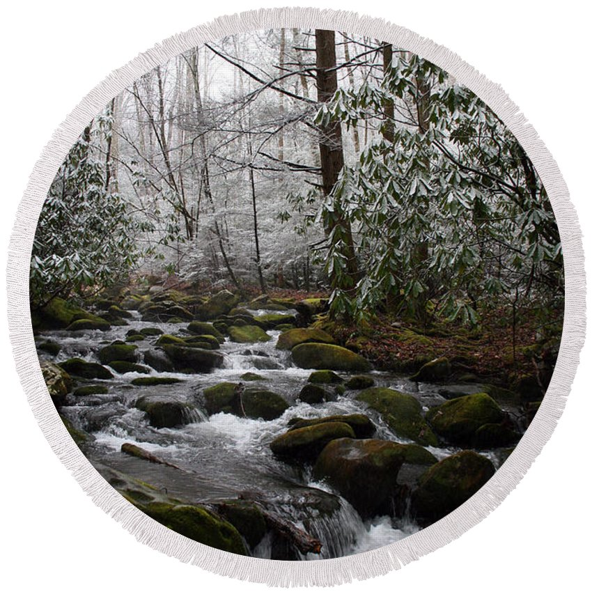 Park Winter Snow White Water Stream Creek Flow River Rock Boulder Tree Green Rush Cold National Round Beach Towel featuring the photograph Flowing by Andrei Shliakhau